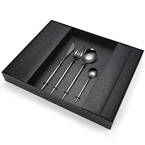 Conjunto de cajas de regalo de vajilla de 16 piezas, vajilla de acero inoxidable elegante de acero inoxidable Securamiento de vajillas de plata, fácil de limpiar y l black- 32PCS