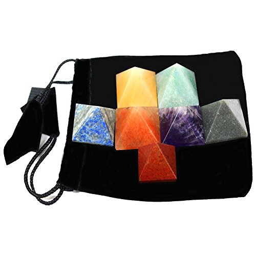 Set of 7 (SEVEN) Pyramid Chakra Set -- Engraved Pyramid Shaped Chakra Stone - Reiki - Metaphysical - Crafting with Rock Paradise Exclusive Certificate of Authenticity (AM4B2)
