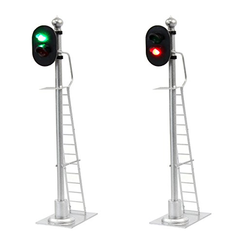 JTD433GR 2PCS Model Railroad Train Signals 2-Lights Block Signal 1:43 O Scale 12V Green-Red Traffic Lights for Train Layout New