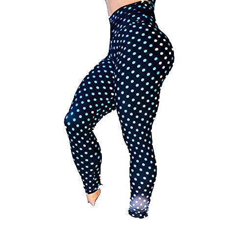 Leggings Cintura Alta Para Mujer,Mallas De Entrenamiento Para Mujer, Mallas Deportivas De Cintura Alta, Mallas De Yoga Elásticas Con Estampado De Puntos Azules, Mallas De Yoga Opacas Para Gimnasio,