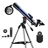ESSLNB Telescope for Adults 700X70mm with K4/10/20 Eyepieces 525X Telescopes for Kids and Beginners Erect-Image Refractor Telescope with Stainless Steel Tripod Phone Mount and Red Dot Finderscope