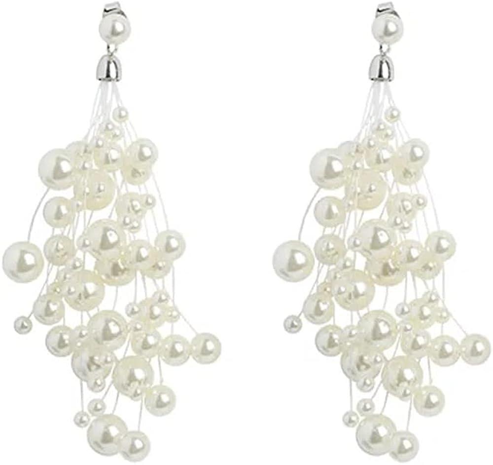NIDEZHI White Pearl Gypsophila Fringe Clip on Earrings for Women Girls Statement Bridal Dangling Clip On Earrings