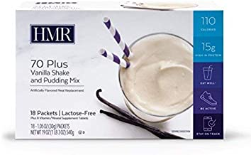 HMR 70 Plus Vanilla Shake and Pudding Mix, Lactose-Free, 15g Protein, 110 Cal., 18 Single- Serve Packets