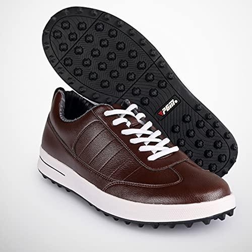 Zapatos de golf impermeables para hombres Zapatos para caminar al aire libre, Zapatos de golf profesionales antideslizantes sin tacos, Cómodas zapatillas de golf de cuero de microfibra acolchadas