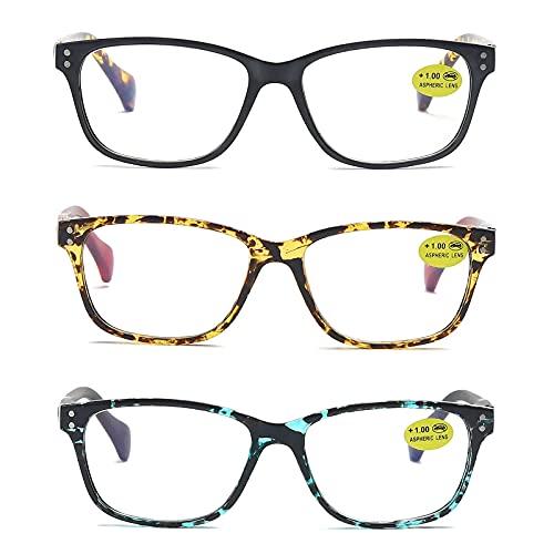 MMOWW 3 stueck Lesebrille personalisierte Retro Anti Blau Lesebrille mit Federscharnieren farbenfrohe Herren und Damen Computerbrille(Schwarz+Rot+Blau,+2.5)