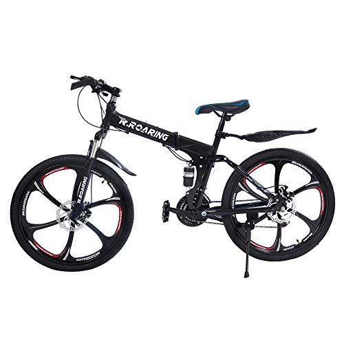 R.Roaring Mountain Bike for Adult Teens 21 Speed Gears Folding Outroad Bike 26 inch 6-Spoke Rims Dual Disc Brake Bicycle Black Ship from US