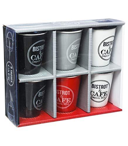 6 TASSE A CAFE BISTROT 7 X 5 CM 11 CL ROUGE NOIR GRIS BLANC CUISINE VAISSELLE