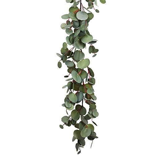 Tuneway 1.6M Eucalyptus Garland, Artificial Vines Faux Eucalyptus Leaves Table Garland Artificial Eucalyptus Garland Greenery Wedding Backdrop Arch Wall Decor