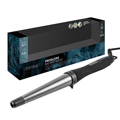 REVAMP Progloss Big Hot Wand Rizador de Pelo Cónico - Tenacilla con Barril de Cerámica Grande para Rizos Y Ondas, Calentamiento Rápido, Temperatura Regulable, Apagado Automático, Black