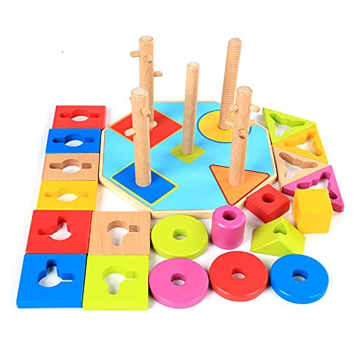 Octagon en Bois Set de Forme géométrique Intelligence désassemblage de l'éducation de la Petite enfance Post Enfants Magie des Blocs de Construction Jouets