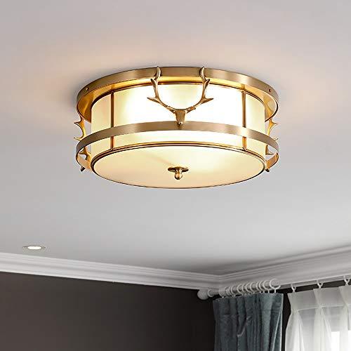 CHENJUNAMZ Luz de lujo cobre lámpara de techo cálido romántico salón comedor dormitorio estudio lámpara redonda