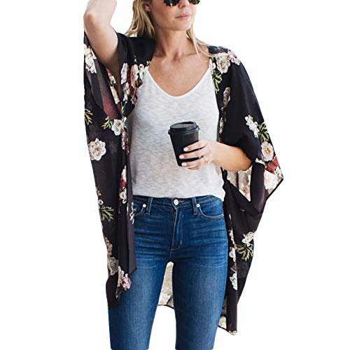 Amaryllis Apparel Women's Black Floral Print Long Kimono Cardigan Beach Cover Up