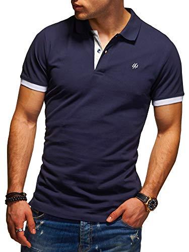 JACK & JONES Herren Poloshirt Polohemd Kurzarmshirt (M, Navy Blazer/White)