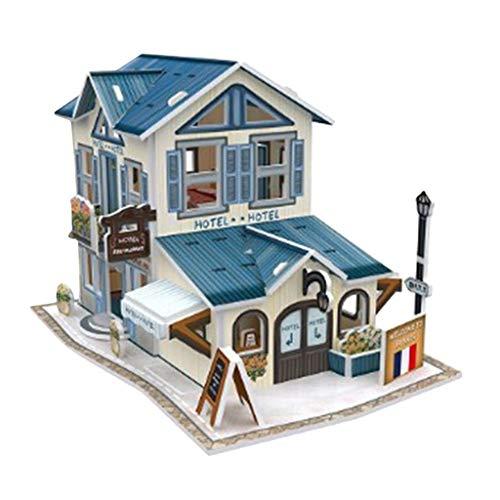 3D Puzzle Puppenhaus Bausatz zum Selbermachen - 1:24 Mini Haus Bausatz Handgefertigt Puppenstube Spielzeug - Hotel