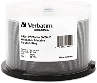 Wholesale CASE of 10 - Verbatim 16X White Inkjet Printable DVD+R -DVD+R, 16X Speed, 4.7GB, Inkjet/Hub Printable, 50/PK