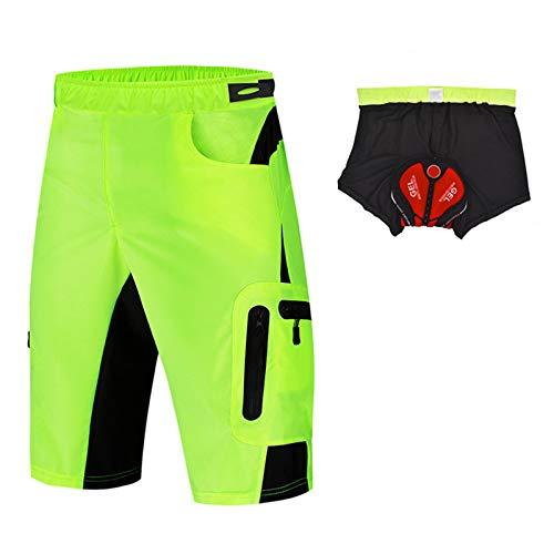 Pantalones Cortos De Ciclismo Hombre,Secado Rápido Pantalones Transpirables Cortos De MTB,Acolchados En 3D Y 4 Bolsillos Pantalon Bici,para Deporte Al Aire Libre Y Ciclismo(Size:L,Color:Verde)