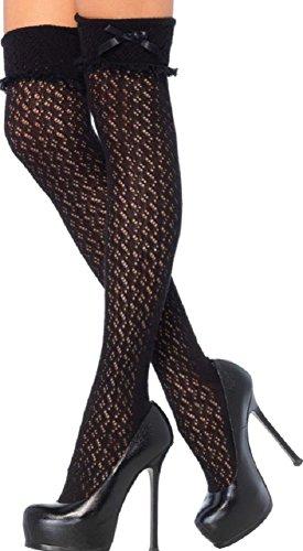 Leg Avenue Damen Overknee Strümpfe Nylon Schwarz Häkeloptik mit Bündchen Einheitsgröße 36 bis 40