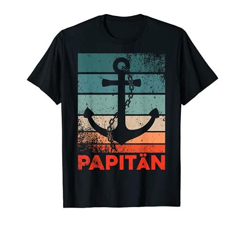 Herren Papitän | Papa und Kapitän Lustiges Retro Anker Vatertag T-Shirt