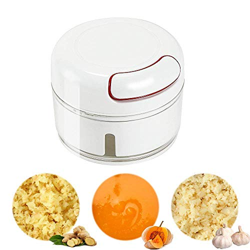 Handmatige Food Chopper - Mini Hand Pull Food Processor Knoflookpers, BPA-vrij/duurzaam Mini Handmatige Knoflookhakker - De nieuwste draagbare gembermolen met penseel (170 ml, wit)