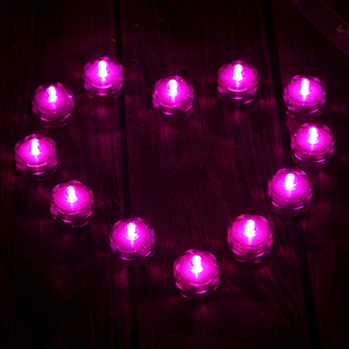AGPTEK 24x LED Submersible Waterproof Wedding/Party/Floral Decoration Tea Vase Battery light Candles-pink-purple
