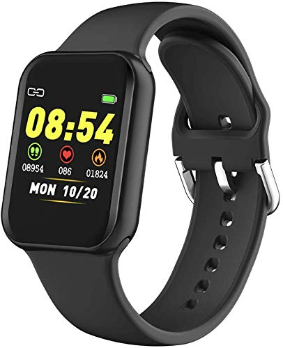 Smart Watch,Fitness Tracker with Heart Rate Monitor,Waterproof Fitness Watch with Pedometer,Smartwatch Compatible with iOS, Android for Men, Women,Black