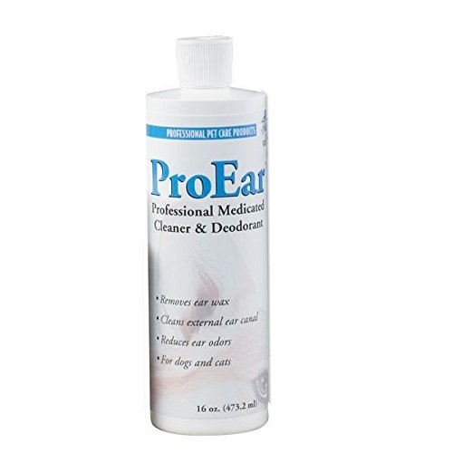 Top Performance Professional ProEar Medicated Pet Dog Cat Ear Cleaner Cleans & Reduces Odors(16 Ounce Bottle)