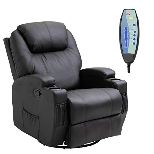 HOMCOM Luxury Leather Recliner Sofa Chair Armchair Cinema Massage Chair Swivel Heated Nursing Gaming Chair Black