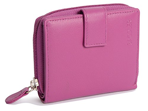 SADDLER Womens Luxurious Real Leather Bifold Wallet with Zipper Coin Purse| Designer Mid Size 6 Credit Card Holder with Secure Tab Closure | Gift Boxed - Magenta