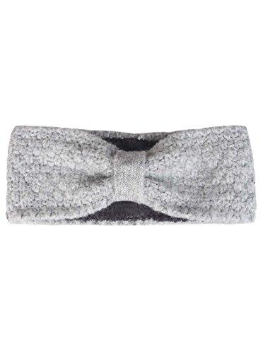 Zwillingsherz Stirnband mit Schleife - Hochwertiges Strick-Kopfband für Damen Frauen Mädchen - Mit Fleece - Wolle - Ohrenschutz - Haarband - warm und weich für Herbst Winter und Frühjahr hgr