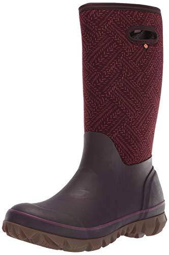 BOGS Women's Whiteout Waterproof Insulated Winter Rain Boot, Fleck Print-Grape, 10