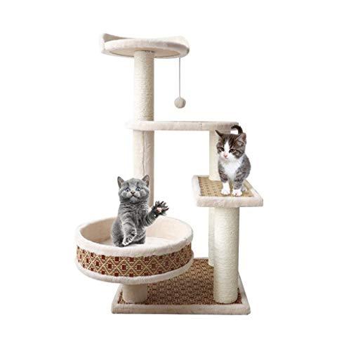 Zhou Kleine Katze Möbel, DREI-Tier-Plattform Cat Klettergerüst Indoor Balkon Cat Scratch Board Sisal Säule Pet Supplies yan (Size : 40 * 40 * 85cm)
