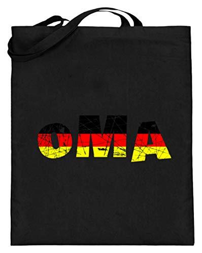 SPIRITSHIRTSHOP Oma - Deutschland, Deutsch, Deutsche, Familie, German, Germany, Nett, Lieben, Liebhaben - Jutebeutel (mit langen Henkeln) -38cm-42cm-Schwarz