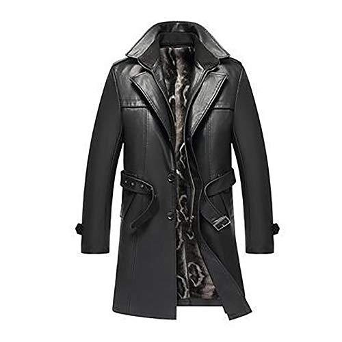 HYISHION Herren Trenchcoat aus echtem Leder Schwarz Langer Winteranzug Kragen Mantel Oberbekleidung mit Gürtel,Schwarz,XXXL
