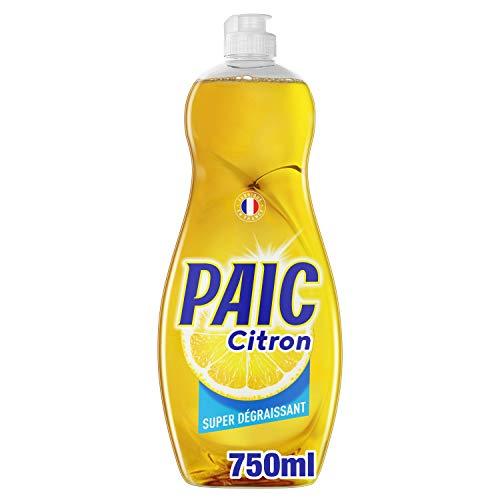 PAIC - Liquide Vaisselle Paic Citron Super dégraissant - Pour une Vaisselle Propre et Brillante - Élimine les Graisses Tenaces - Quelques Gouttes Suffisent - Flacon 750 ml
