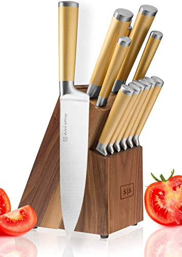Gold Knife Set with Walnut Knife Block, 13-piece Kitchen Knives Stainless Steel Gold Knives Set, Full Tang, Knives Gold - Gold Kitchen Accessories