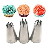 Bakery Russian Stainless Steel Pastry Tips Cupcake Cherry Blossoms Icing Piping Nozzles Ice Cream Tool Cake Decorating Baking Mold(3PCS)