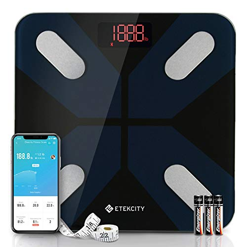 Etekcity Smart Digital Bathroom Scale SScales for Body Weight and Fat, Wellness Bluetooth Health Monitor with SmartApps, Wide Platform, 13 Data, 11.8x11.8 Inch (Pack of 1), Black