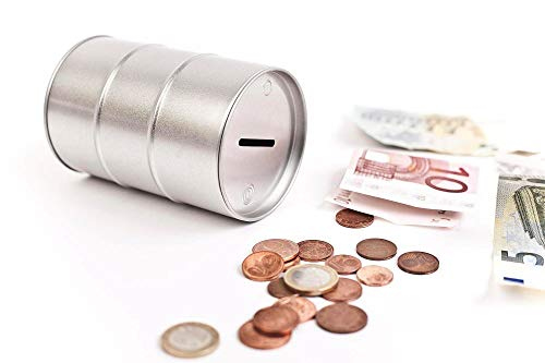 Perfekto24 Hucha en diseño de barril de aceite – Hucha plateada – Hucha para dinero 7,2 x 11,1 cm – Hucha plateada – Lata redonda para ahorrar