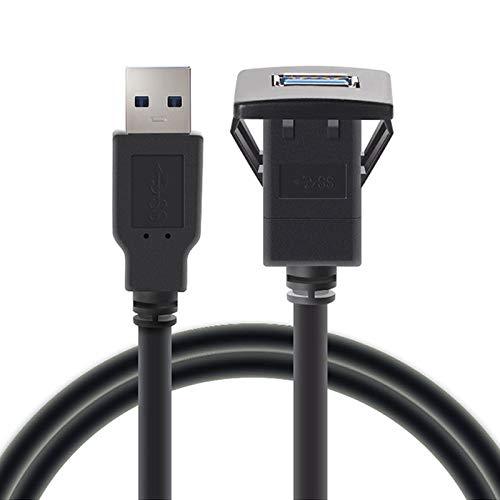 Verlengkabel, USB-kabel, 1 m, USB 3.0, voor de auto, voor inbouw met stekker naar bus, verlengkabel voor dashboard, vierkante audiolijn