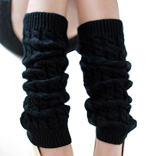 Winterstulpen, modisch, Strick, dick, lang, für Damen, ideales Weihnachtsgeschenk, schwarz