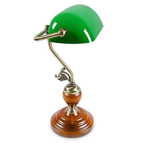 Relaxdays Bankerlampe Holzfuß grün Klassiker Schreibtischlampe – Retro Tischlampe Banker Lampe...