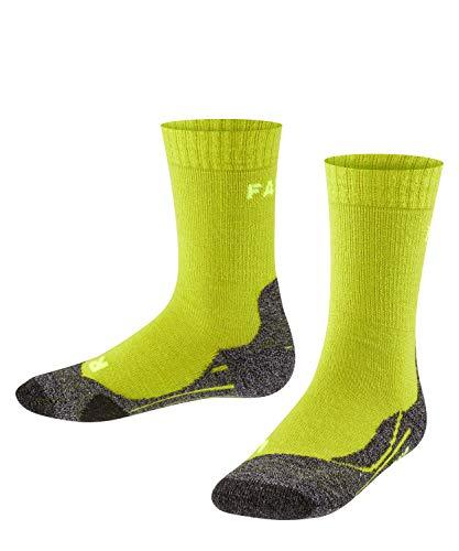 FALKE Kinder TK2 Trekking Socken, wadenlange Wandersocken mit Merinowolle für Mädchen und Jungen, 1 er Pack, Grün (Lime 7601), 35-38 (9-12 Jahre)