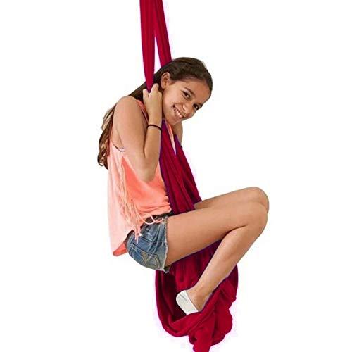 WCX Columpio Swing Hamaca Columpio para niños Hamacas De Columpio De Terapia elástica Interior hamacas sensoriales De Abrazo Ideal para Autismo TDAH, Aspergers (Color : Wine Red, Size : 100 * 280cm)