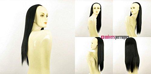Demi-tête, demi-perruque longue lisse 60cm noir ref 014 en 1b