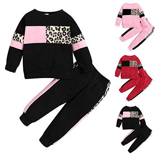 Haokaini Kinder Kleinkind Outfits Langarm Kleidung Set Pullover Hoodie Sweatshirt + Hosen Kleidung Set für Kleinkind(Schwarz,12-18 Monate)