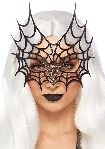 shoperama Schwarze Glitter Spinnennetz Maske von Leg Avenue Gesichtsmaske Spider Woman Kostüm-Zubehör Halloween