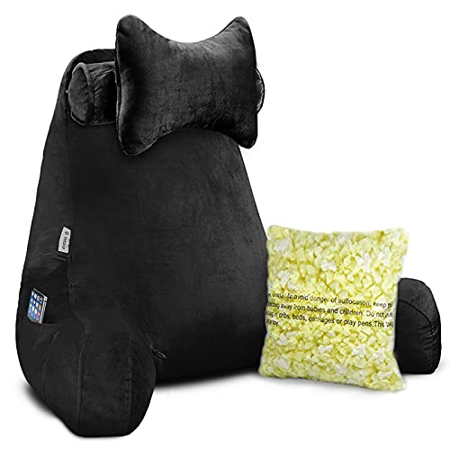 """Vekkia Premium Soft Reading amp Bed Rest Pillow with Higher Support Arm Pocket Free Neck Pillow Back Support for Reading/Relaxing/Watching TV  Extra Foam Incl24"""""""