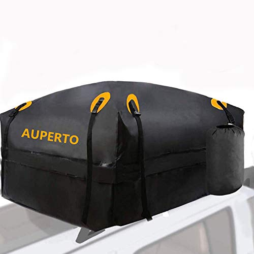AUPERTO Rooftop Cargo Bag - 100% Waterproof 15 Cubic ft Roof Bag or Cars with Side Rails, Cross Bars...
