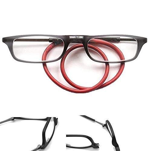 Reading glasses Männer Und Frauen Lesebrille, Magnetisch Hängender Hals Lesebrille, TR90 Abnehmbar Tragbar Einstellbare Teleskopbeine Lesebrille (1.0-3.0)