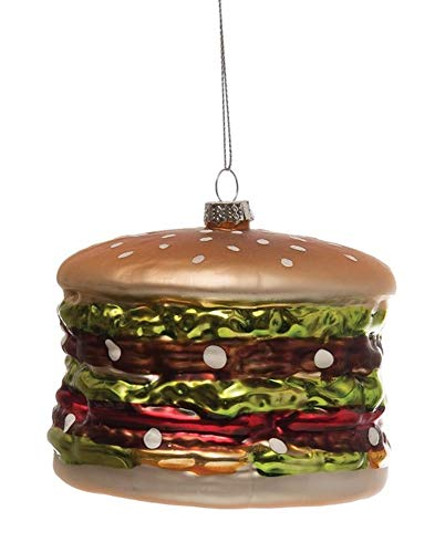 Creative Co-op Hamburger with Sesame Seed Bun Hand Painted Glass Ornament